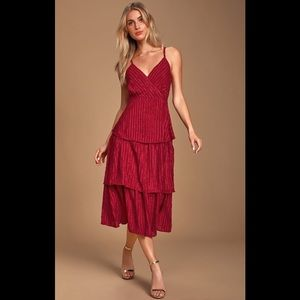 Blaine Wine Red Striped Tiered Midi Dress medium